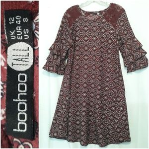 Boohoo Bell Sleeve Dress Long Length